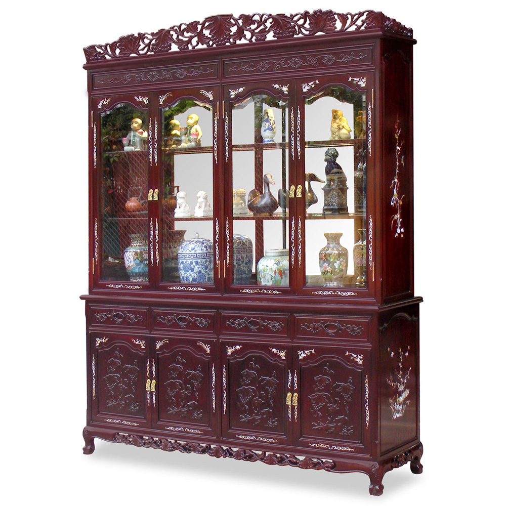 72in Rosewood Grape Vine Motif w/Pearl Inlaid China Cabinet