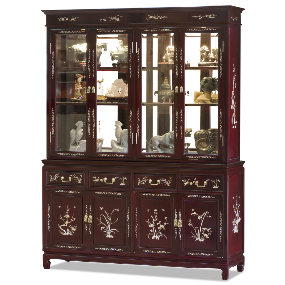 Dark Cherry Rosewood Oriental China Cabinet with Flower and Bird Mother of Pearl Inlay