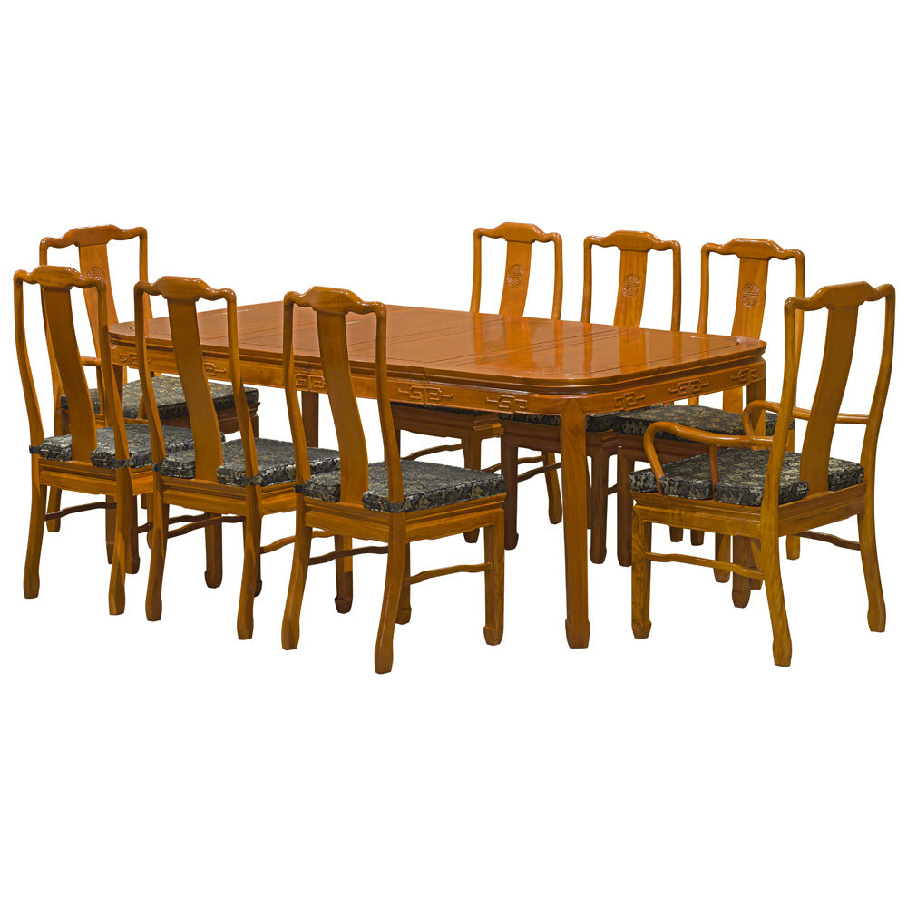 Natural Finish Rosewood Chinese Longevity Rectangle Dining Set with 8 Chairs