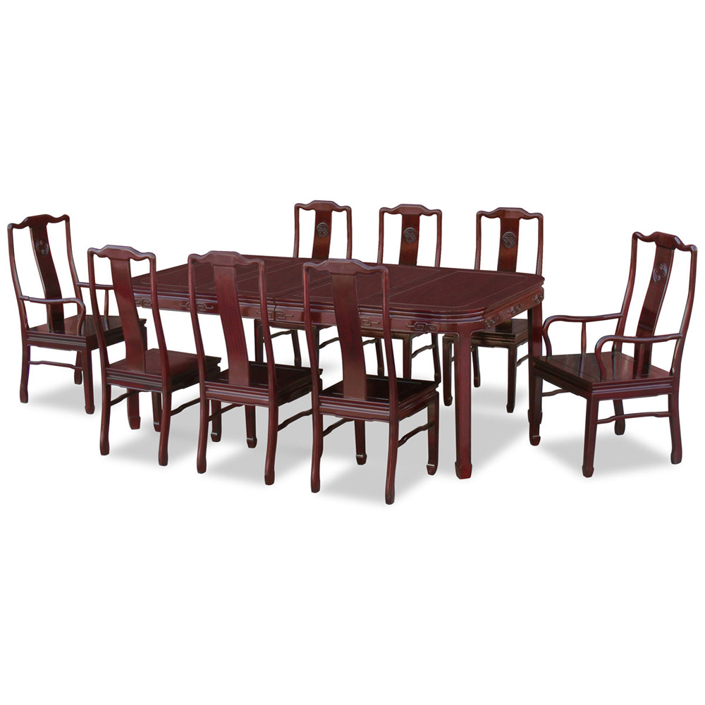 Dark Cherry Rosewood Longevity Rectangle Dining Set with 8 Chairs