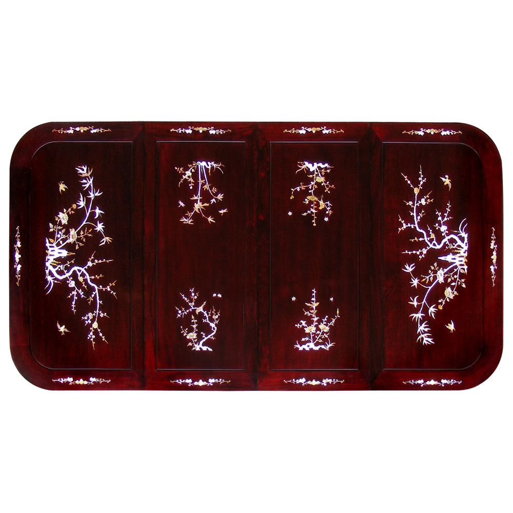 Dark Cherry  Rosewood Mother of Pearl  Inlay Rectangle Dining Set with 8 Chairs