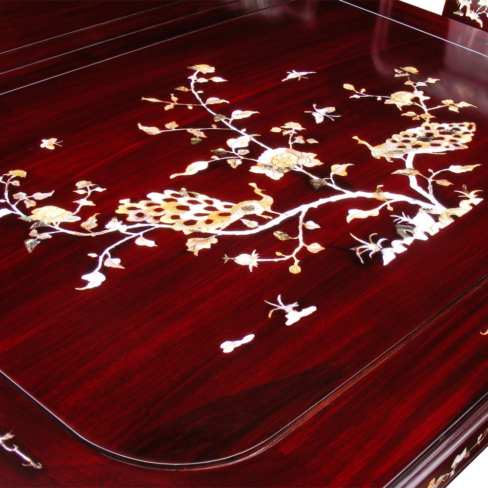 96in Rosewood Mother of Pearl Motif Dining Table with 8 Chairs