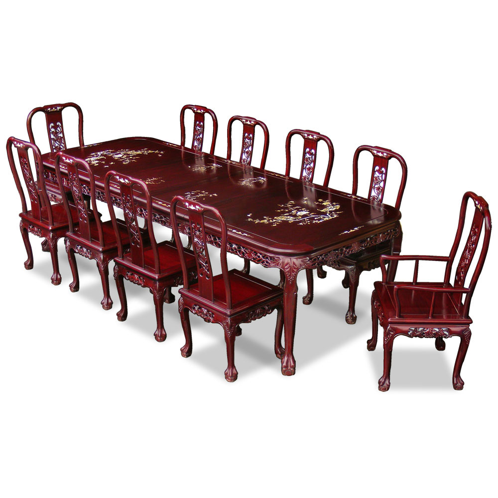 114in Rosewood Queen Ann Grape Motif Dining Table with 10 Chairs