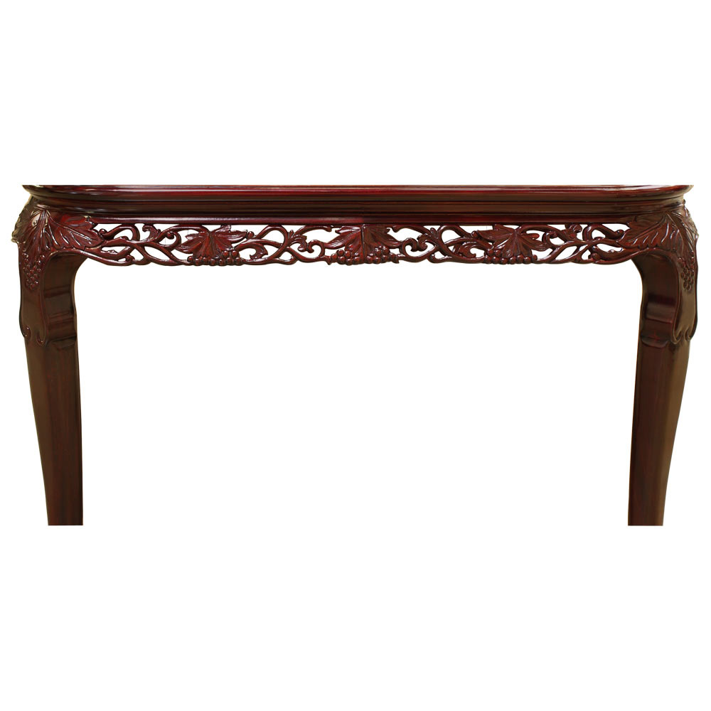 Dark Cherry Rosewood Queen Anne Grape Vine and  Mother of Pearl Inlay Rectangle Dining Set  with 8 Chairs