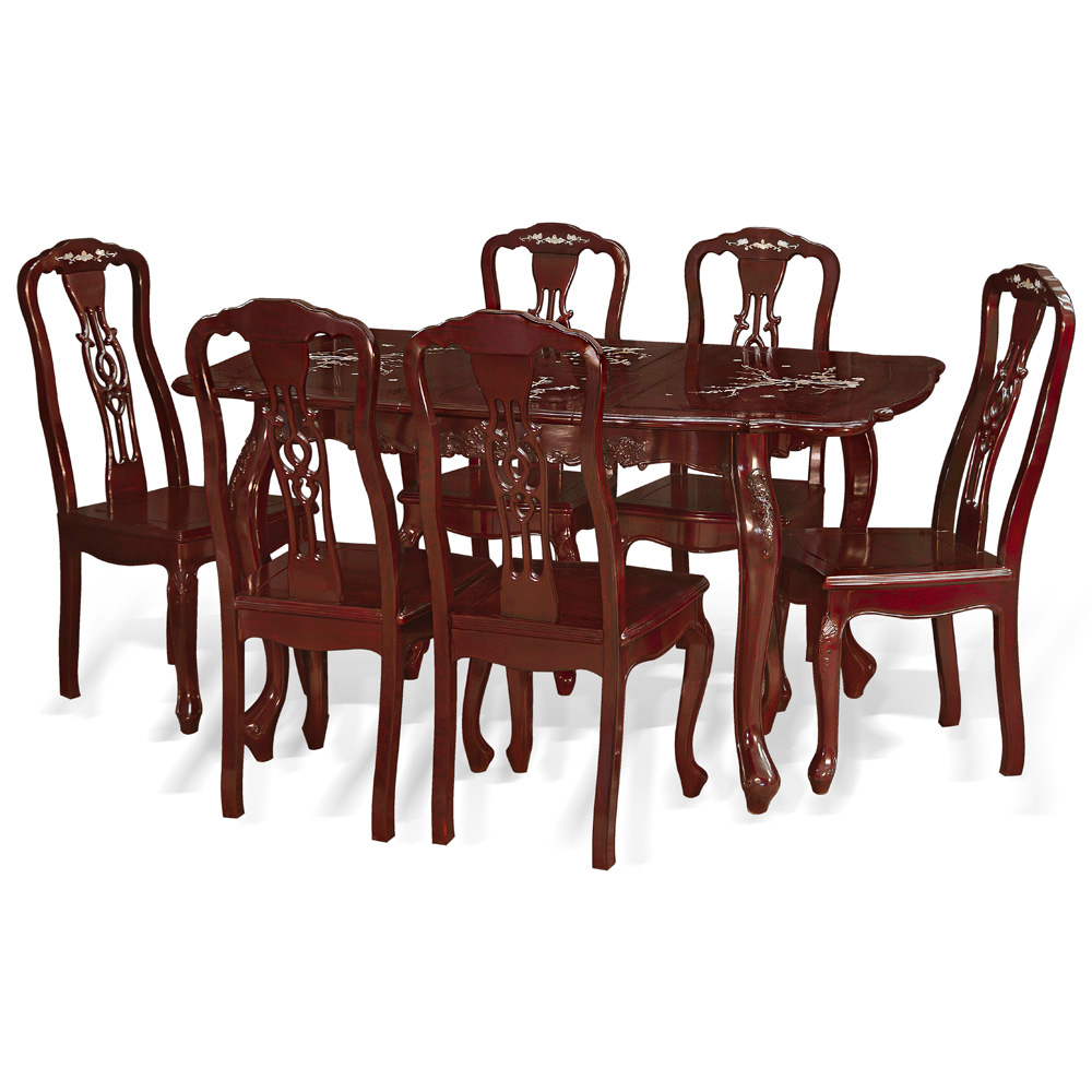 60in Rosewood Mother of Pearl Motif Dining Table with 6 Chairs