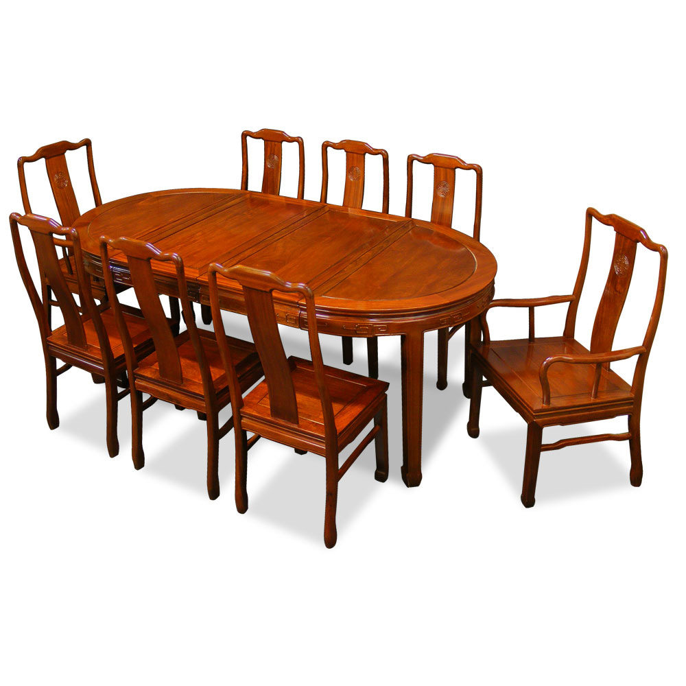 Chinese Dining Table: 80in Rosewood Longevity Design Oval Dining Table With 8 Chairs