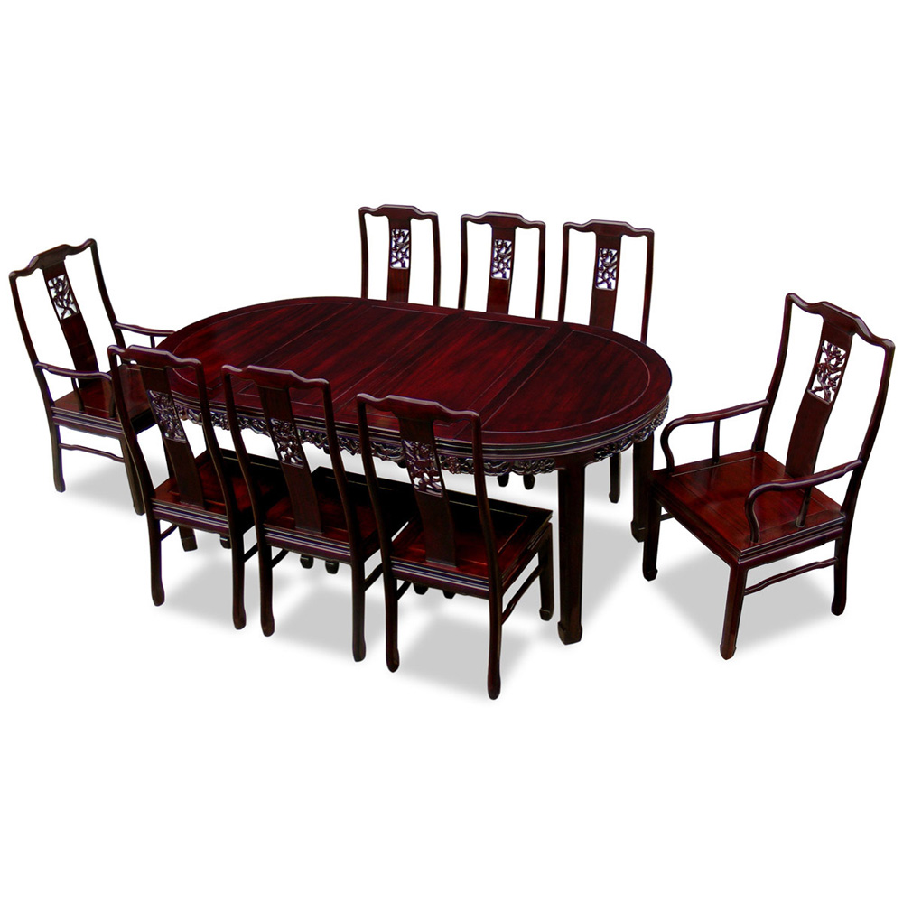80in Rosewood Flower Design Oval Dining Table With 8 Chairs