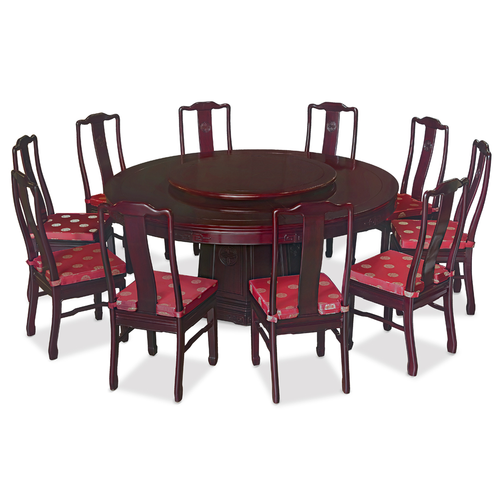 Chinese Dining Table: 72in Rosewood Longevity Motif Round Dinning Table With 10