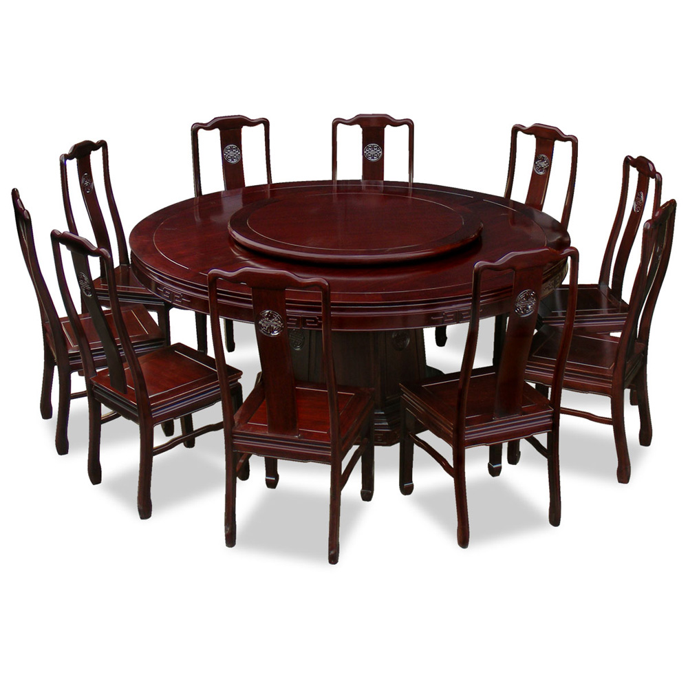 72in rosewood longevity design round dining table with 10 Round dinner table for 10