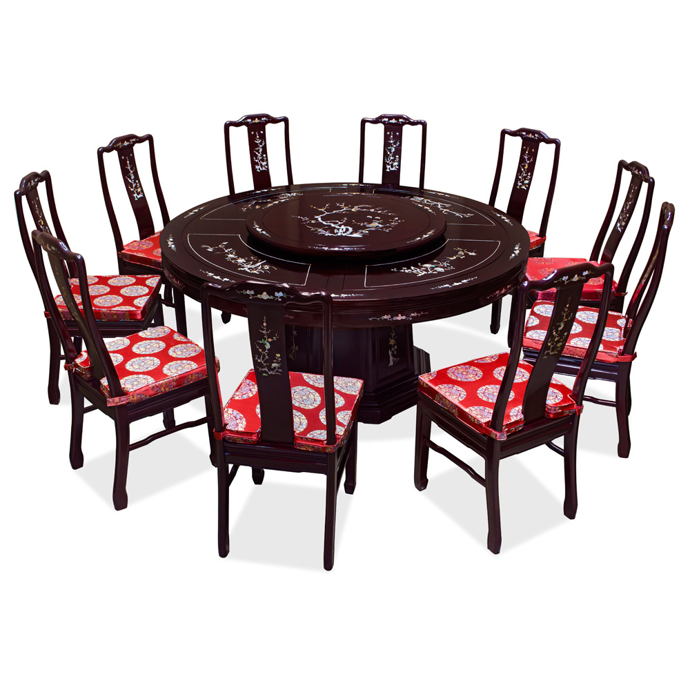 Round Dining Tables For 10: 66in Rosewood Pearl Inlay Design Round Dining Table With