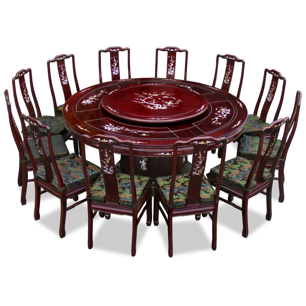 72in rosewood pearl inlay design round dining table with 12 chairs