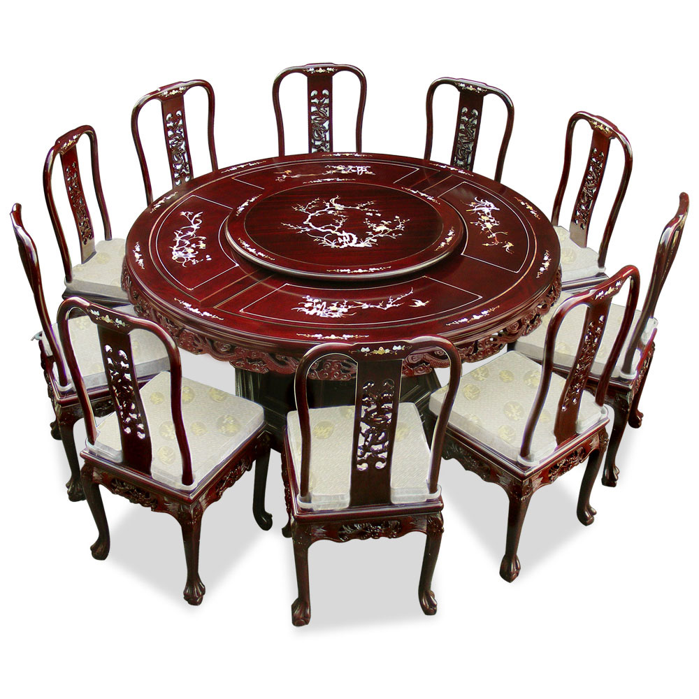 66in Rosewood Pearl Inlay Design Round Dining Table With