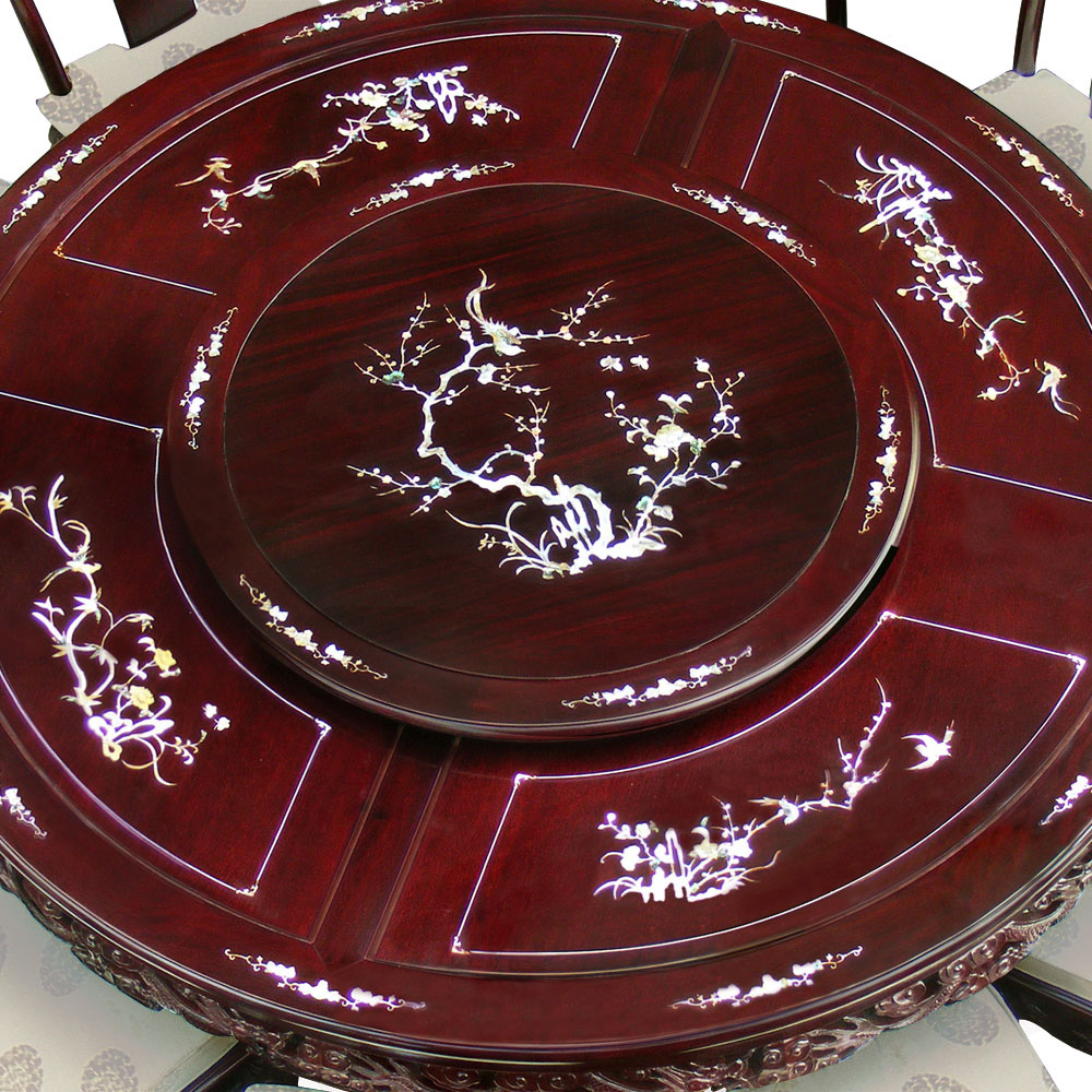 66in Rosewood Pearl Inlay Design Round Dining Table with 10 Chairs
