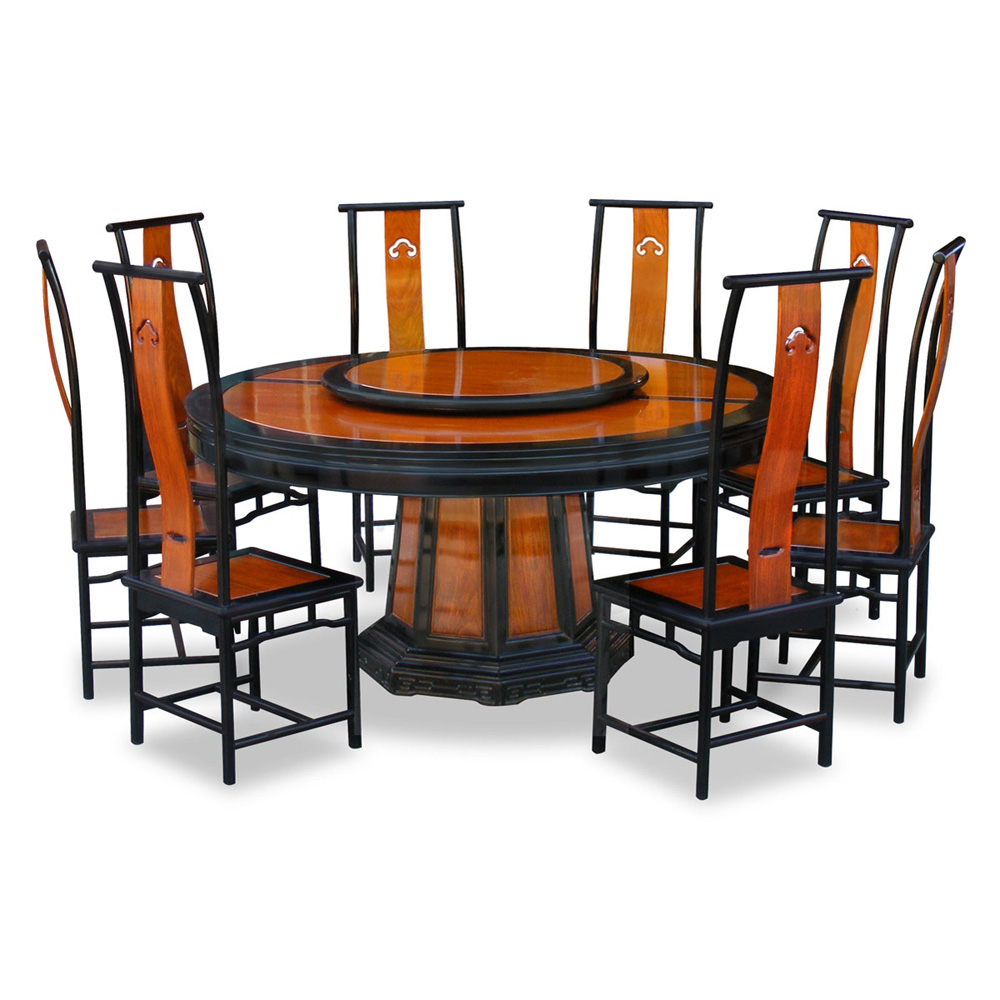 66in rosewood ming design round dining table with 8 chairs for Dining room table and 8 chairs