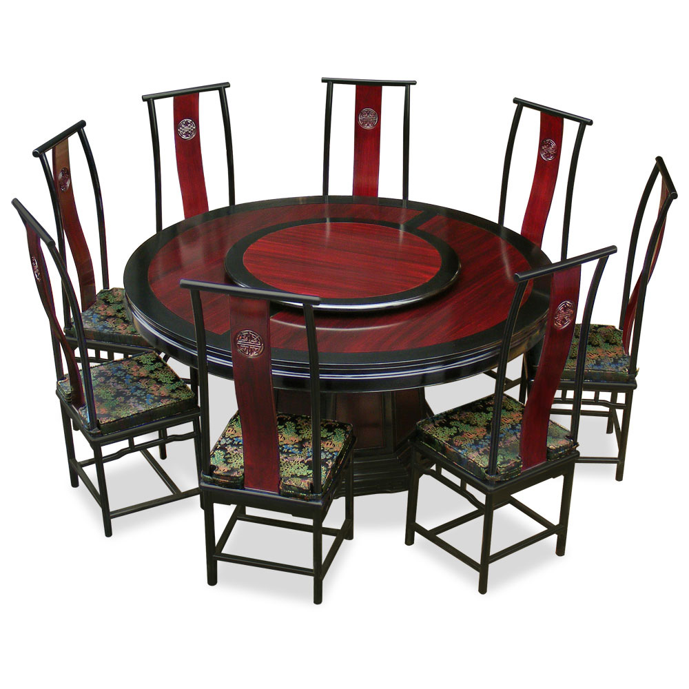 Oriental Dining Table: 66in Rosewood Ming Design Round Dining Table With 8 Chairs