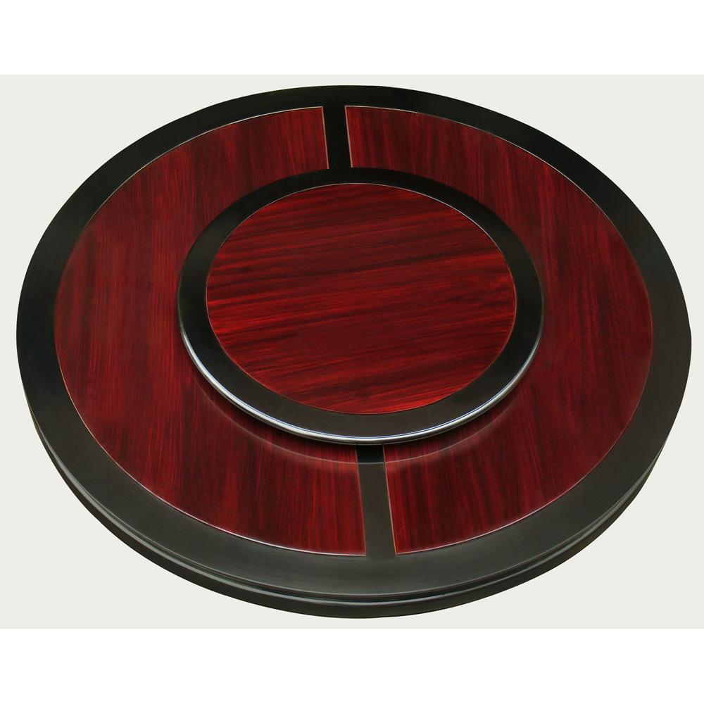 Black Trim Dark Cherry Rosewood Chinese Ming Round Dining Set with 8 Chairs