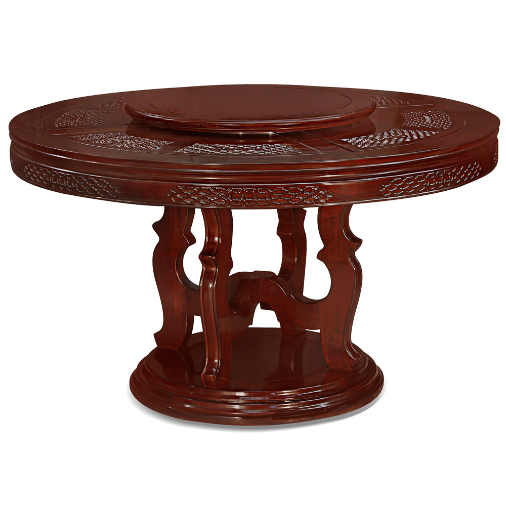 54in rosewood chinese coin and clouds motif round dining for Oriental dining table and chairs