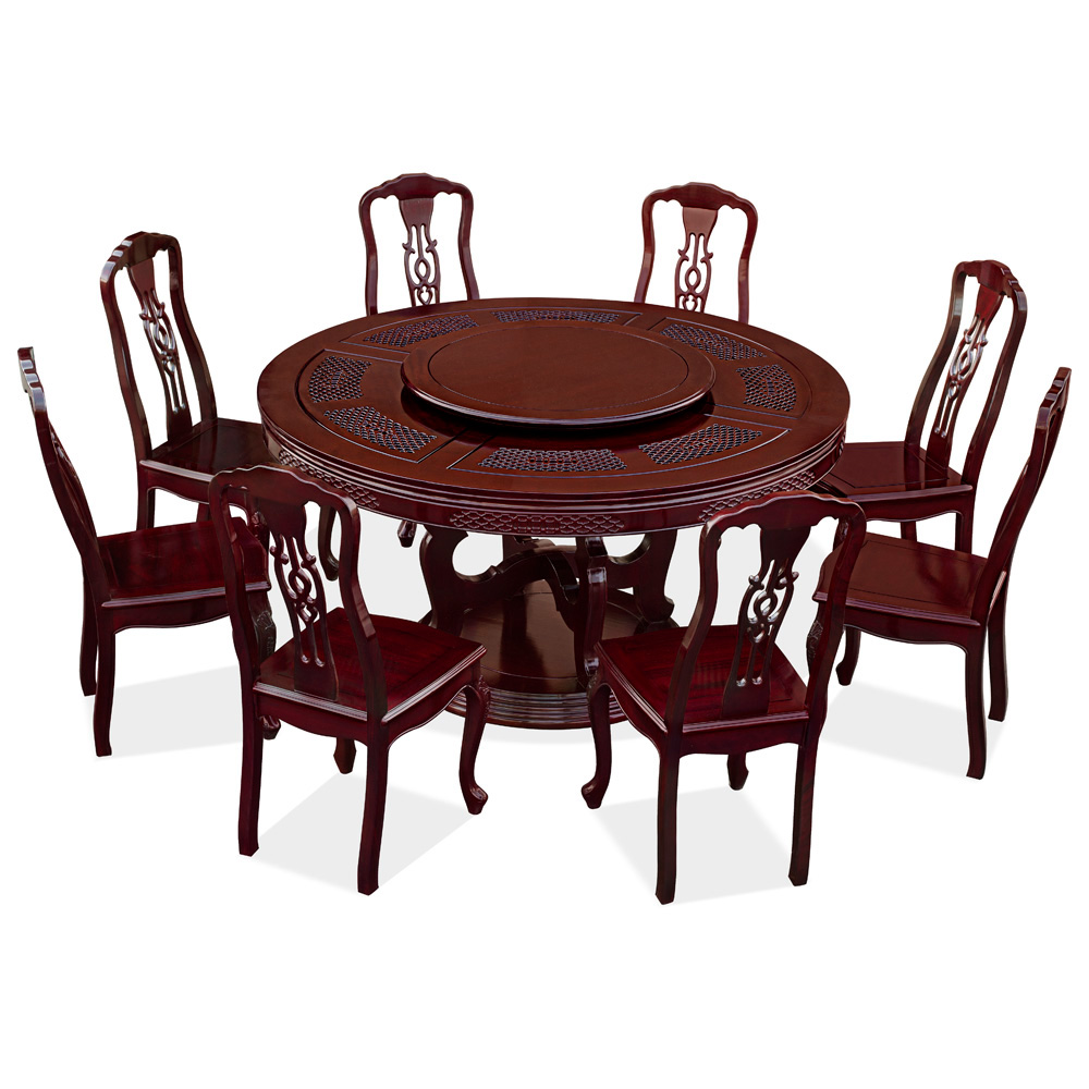 60in Rosewood Chinese Coin and Clouds Motif Round Dining Table with 8 Chairs