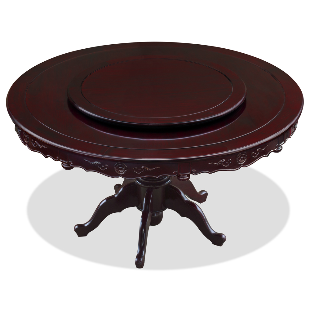 Dark Cherry Rosewood Round Oriental Dining Set with 10 Chairs