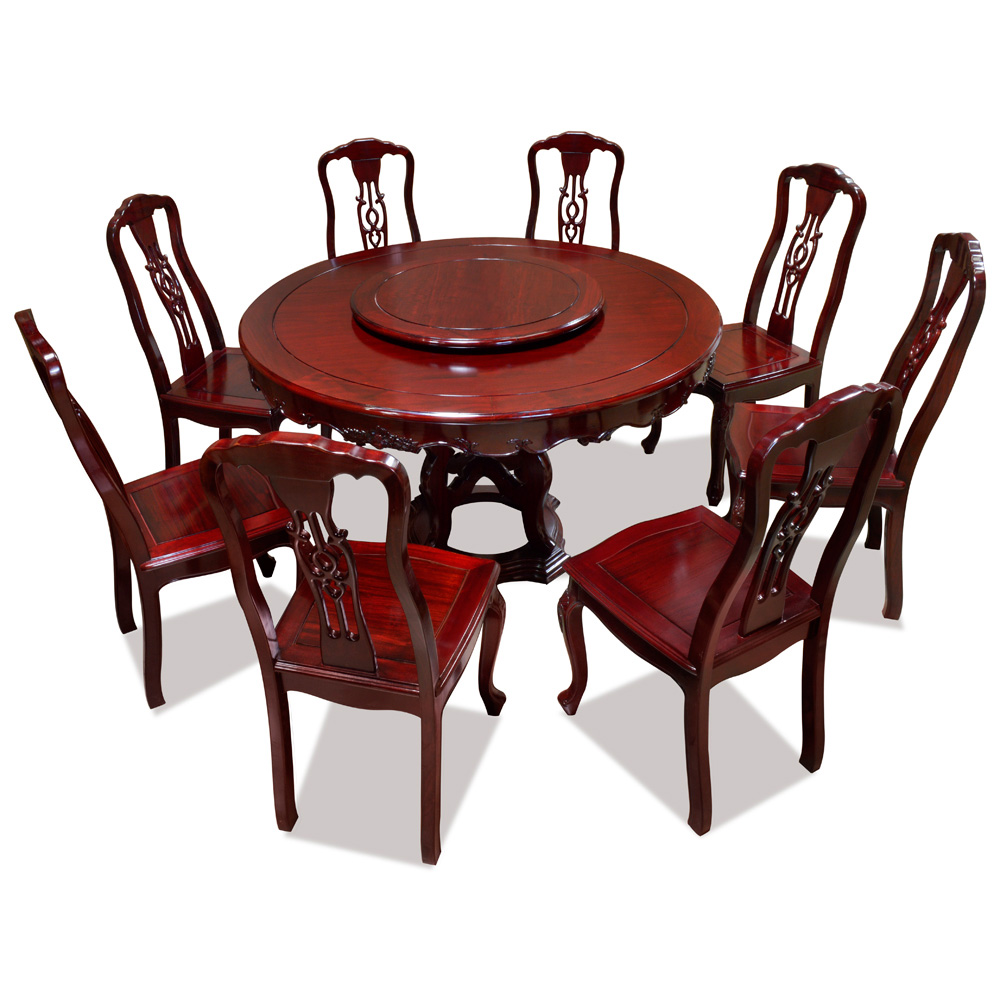 54in Rosewood Round Table with 8 Chairs and Lazy Susan