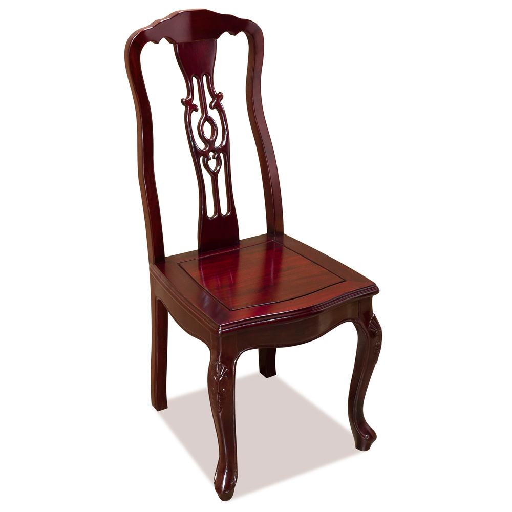 Dark Cherry Rosewood Round Dining Set with 8 Chairs