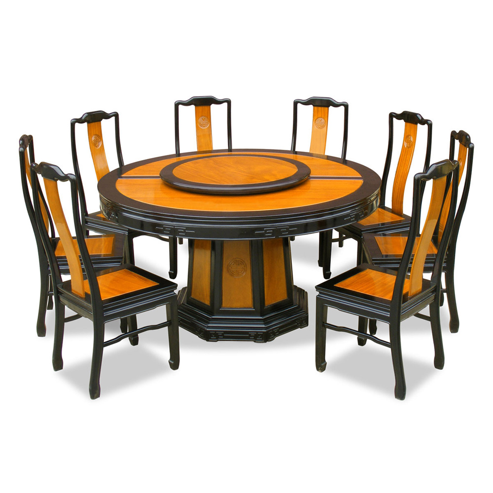 60in rosewood longevity design round dining table with 8 for Round dining table set