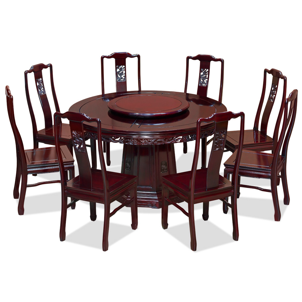 54in Dragon Motif Rosewood Round Table Set with 8 Chairs