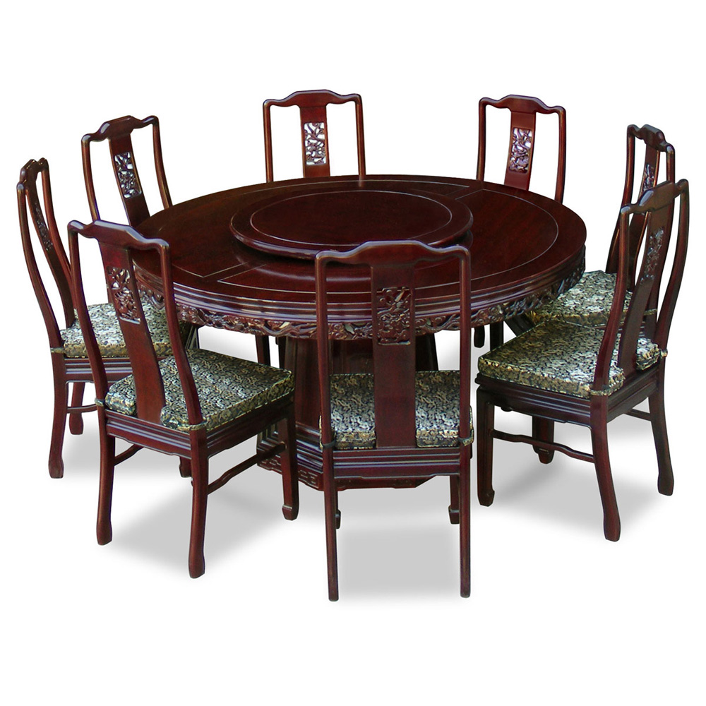 60in Rosewood Dragon Round Dining Table with 8 Chairs