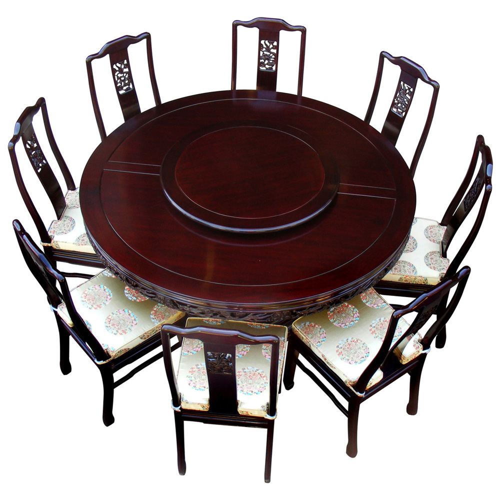 Dark Cherry Rosewood Dragon Round Dining Set with 8 Chairs