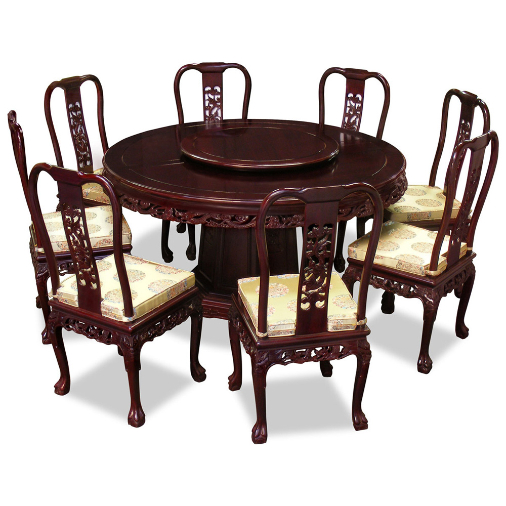 60in Rosewood Imperial Dragon Design Round Dining Table with 8 Chairs