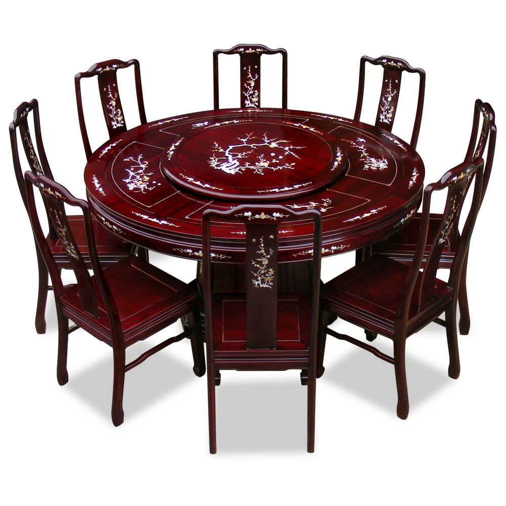 60in rosewood pearl inlay design round dining table with 8 for Round dining table for 8