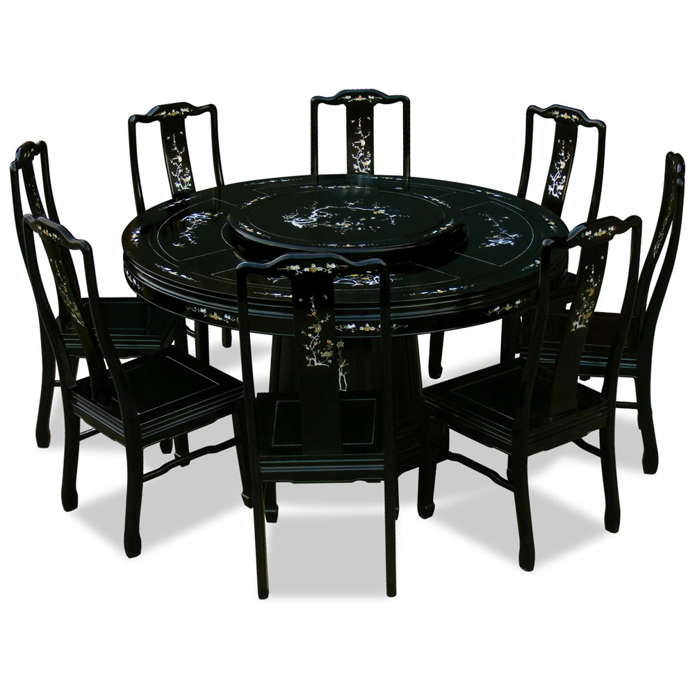 Black Rosewood Mother of Pearl Inlay Round Dining Set with with 8 Chairs