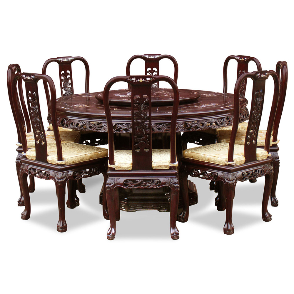 Rosewood Queen Ann Pearl Inlay Motif Round Dining Table With 8 Chairs