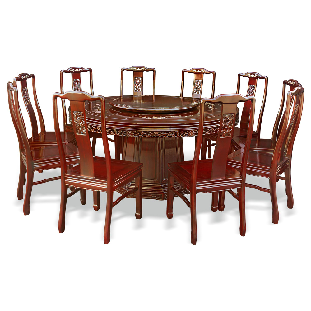 dining table with 10 chairs. 60in Rosewood Flower Pearl Inlay Design Round Dining Table With 10 Chairs T