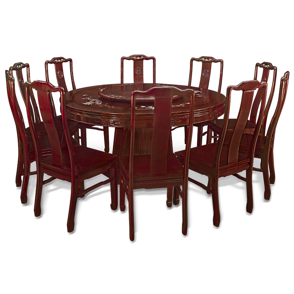Round Dining Table Seats 10: 60in Rosewood Flower Pearl Inlay Design Round Dining Table