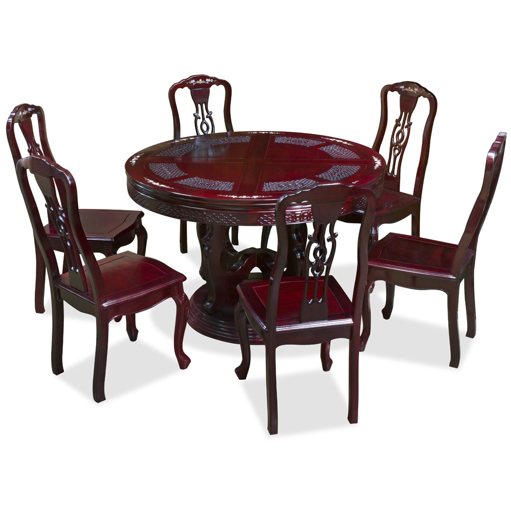 Dark Cherry Rosewood Flower and Bird Mother of Pearl Inlay Round Dining Set with 6 Chairs
