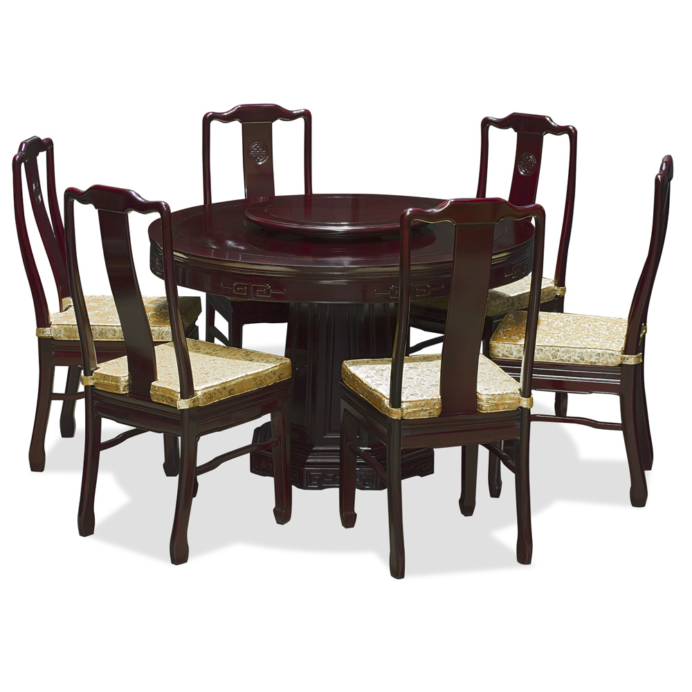 48in rosewood longevity design round dining table with 6 for Six chair dining table set