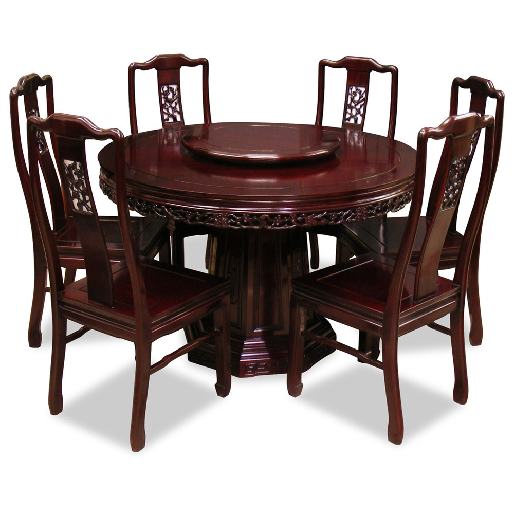 48in Rosewood Flower Birds Design Round Dining Table With 6 Chairs