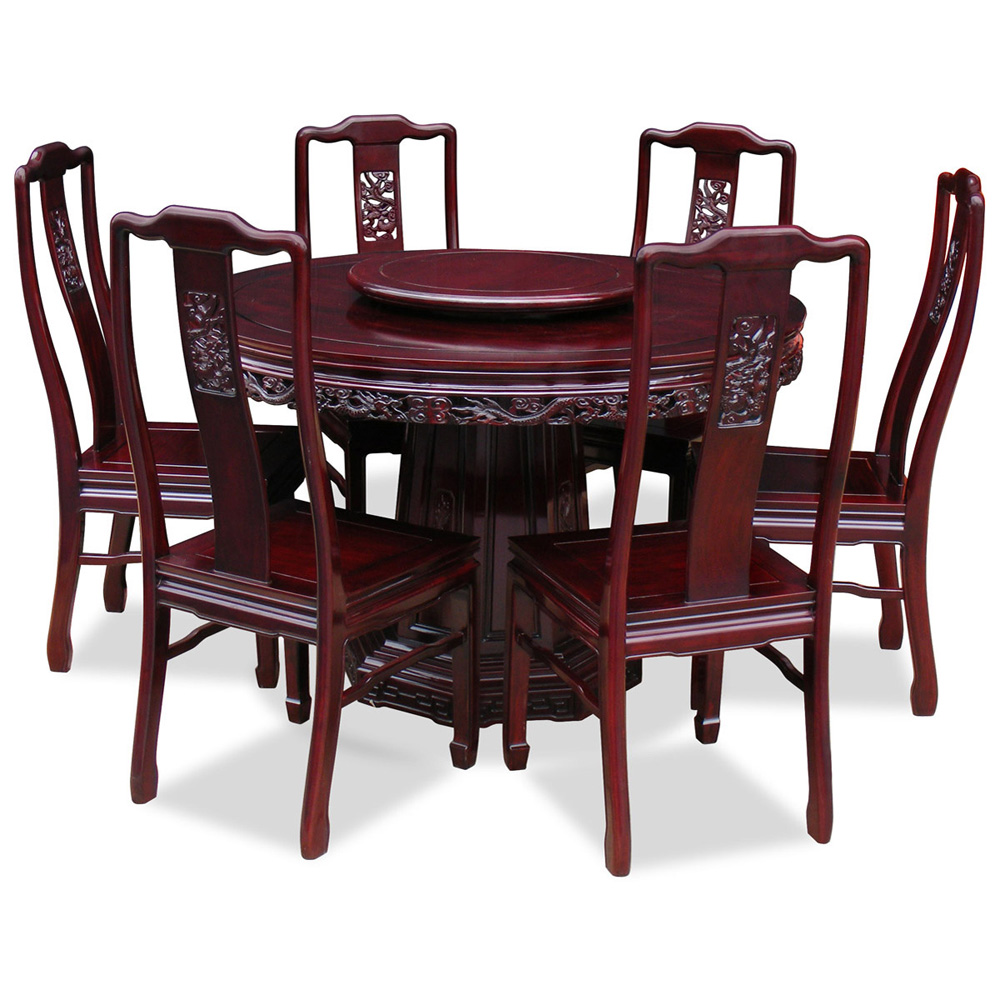 Dark Cherry Rosewood Dragon Round Dining Set with 6 Chairs