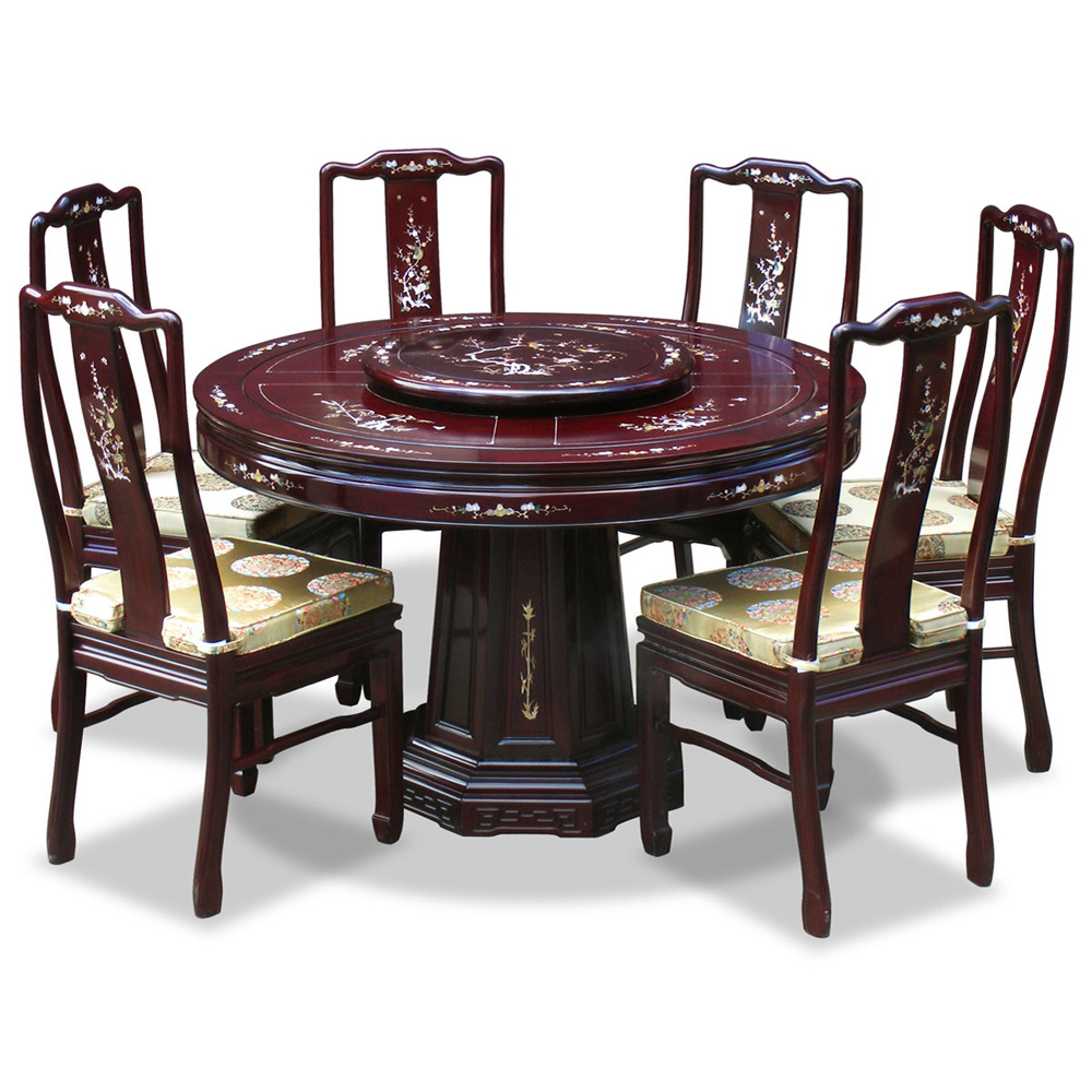 48in rosewood mother of pearl design round dining table with 6 chairs