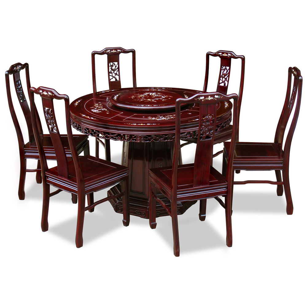 48in Rosewood Flower And Bird Motif Round Dining Table With 6 Chairs