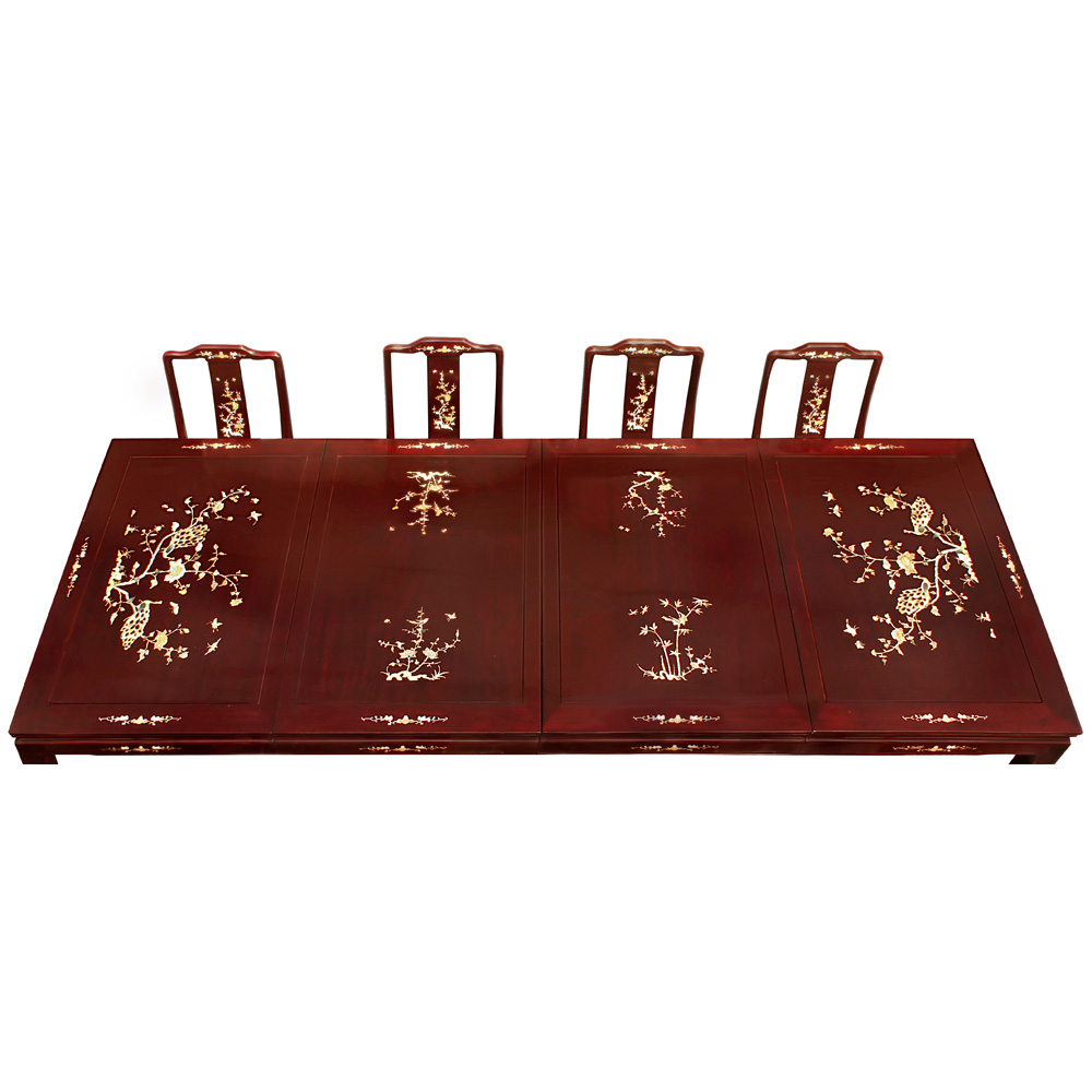 114in Rosewood Mother of Pearl Inlaid Dining Table W/10 Chairs