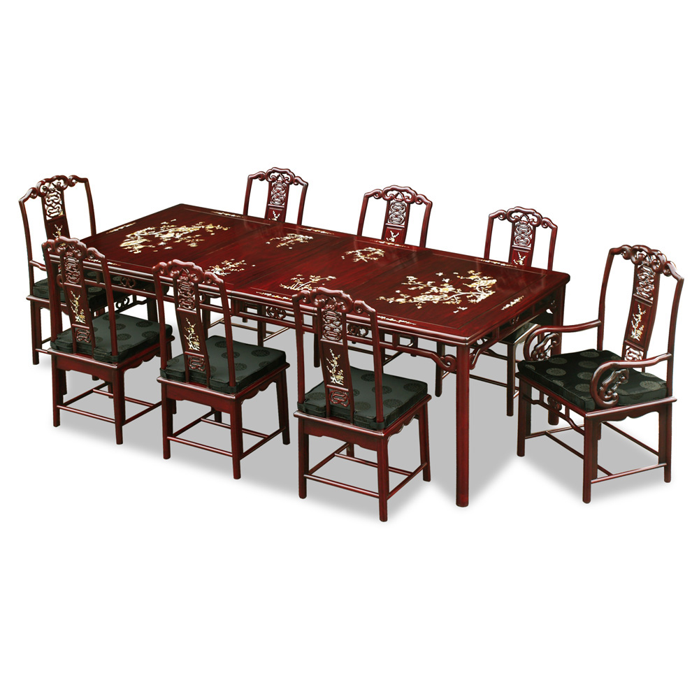 96in Rosewood Ling-Chi Design Dining Table with 8 Chairs