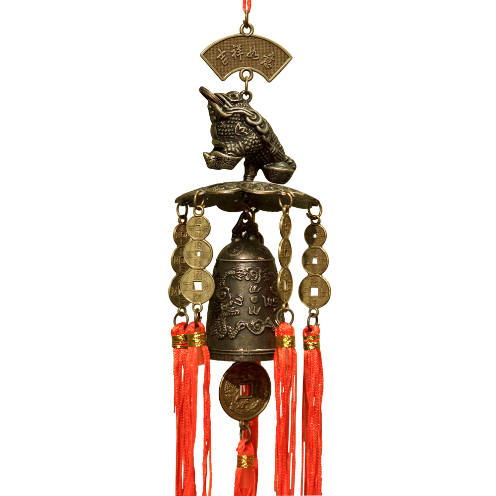 Feng Shui Money Toad Wind Chime with Lucky Red Tassels