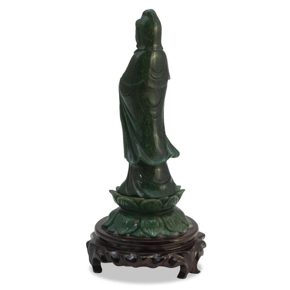 11 Inch Green Goldstone Guanyin Asian Statue