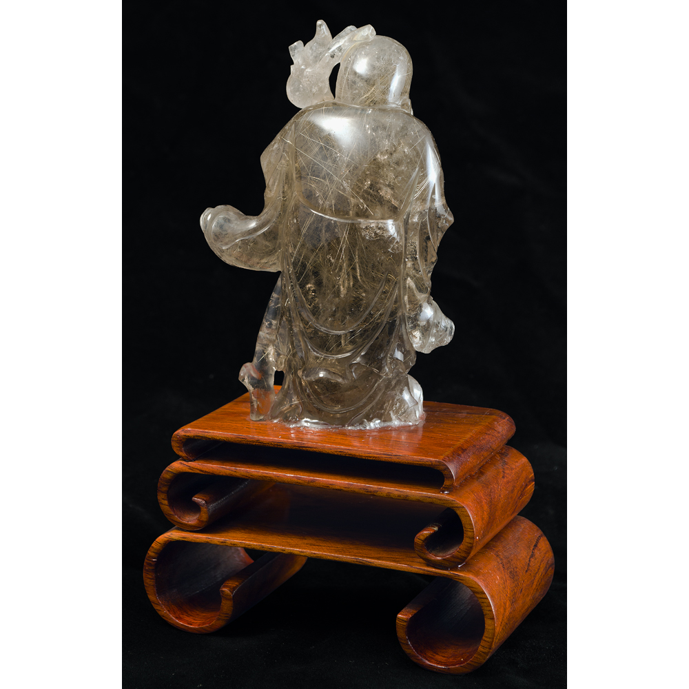 Clear Quartz Longevity God Chinese Figurine