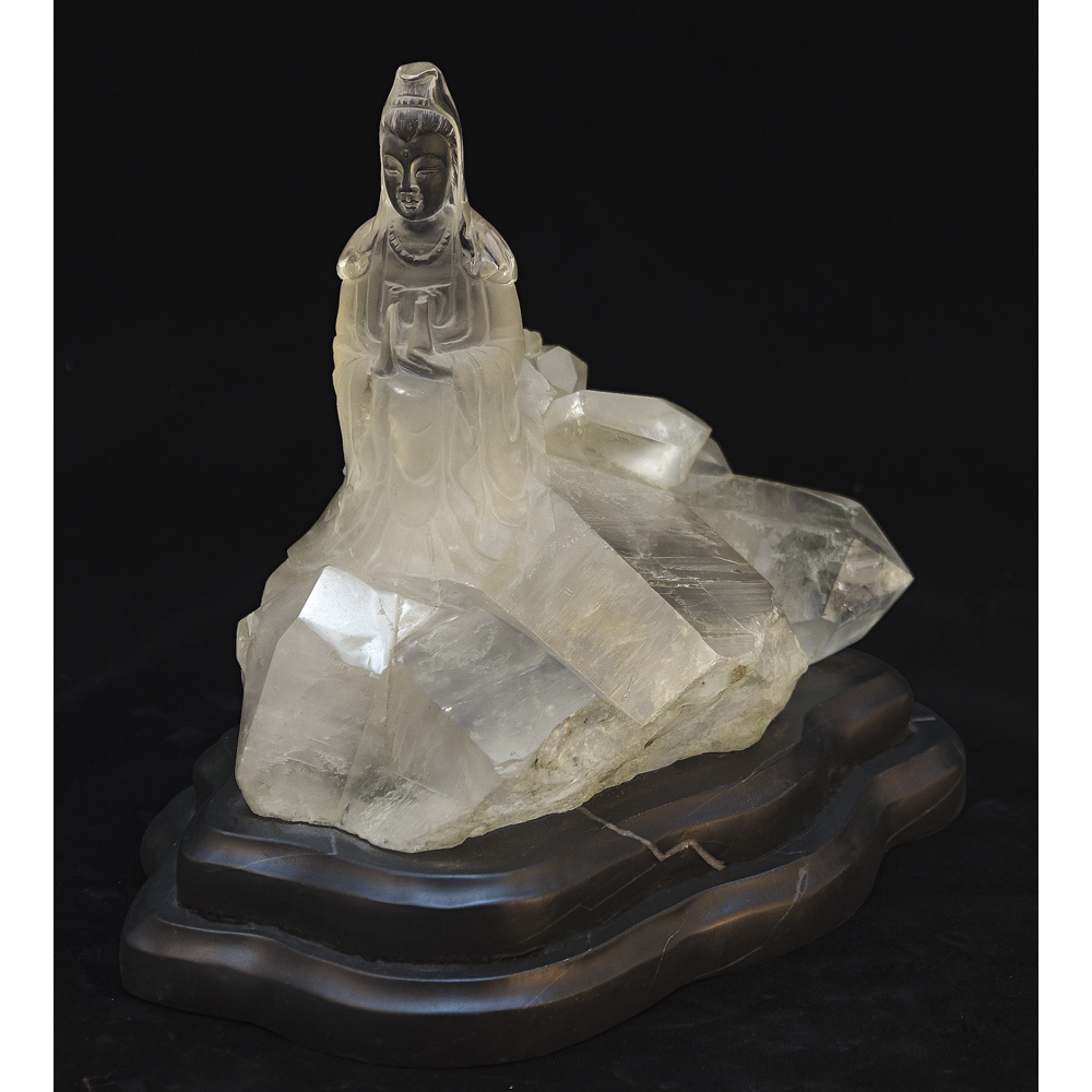 Clear Quartz Guanyin Asian Sculpture with Onyx Stand