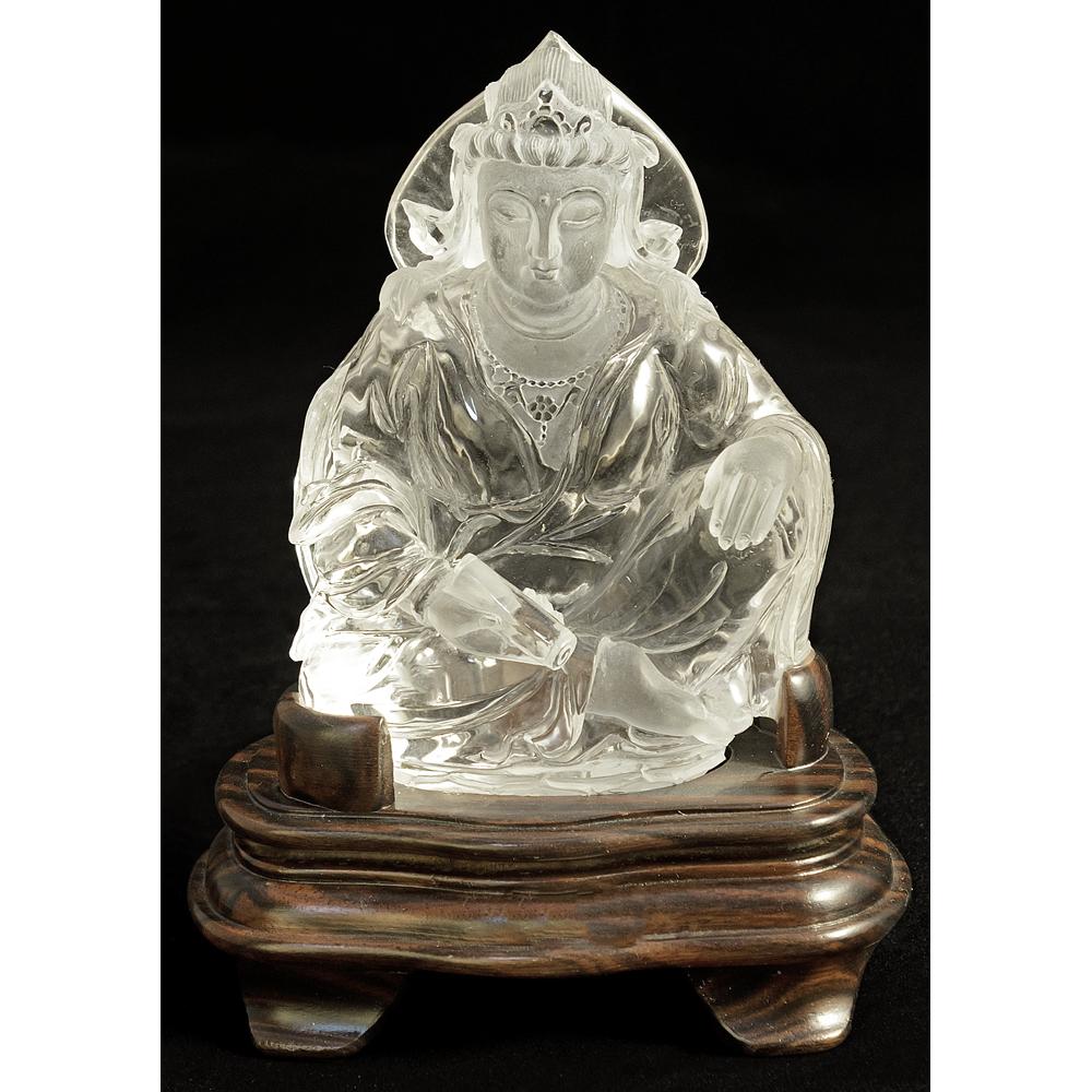 Clear Quartz Sitting Buddha Asian Figurine