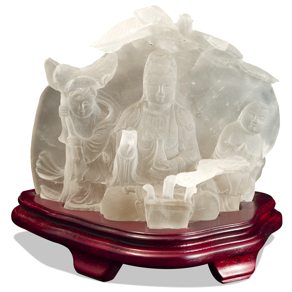 Frosted Quartz Guanyin with Two Children