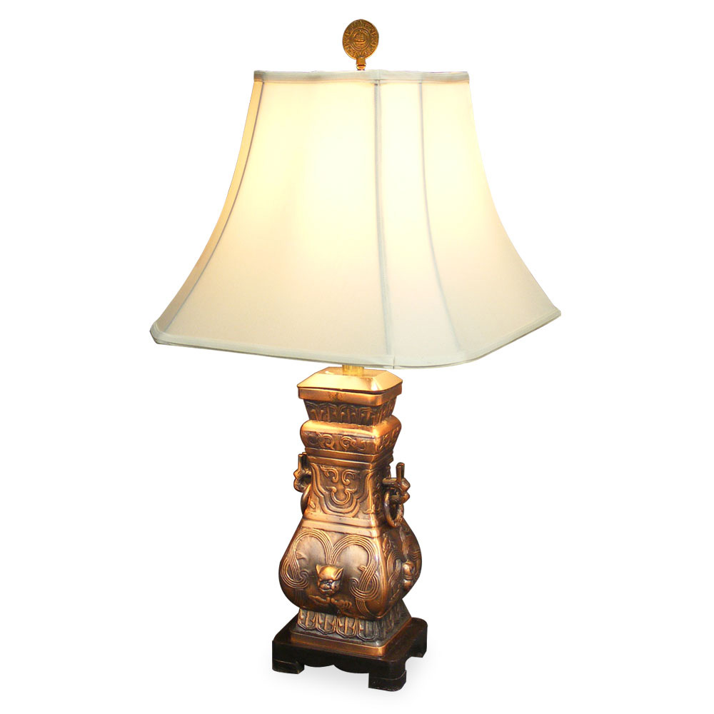 Bronze Wine Vessel Lamp W/Shade